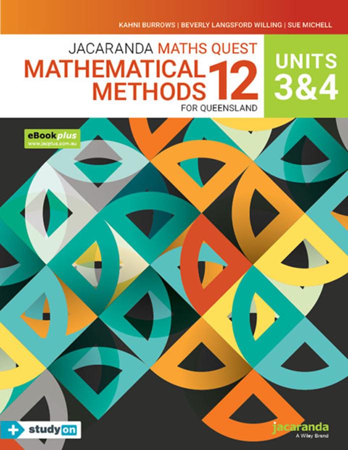 Jacaranda Maths Quest 12 Mathematical Methods Units 3&4 for Queensland eBookPLUS & Print + StudyON Mathematical Methods Units 3&4 for QLD (Book Code)